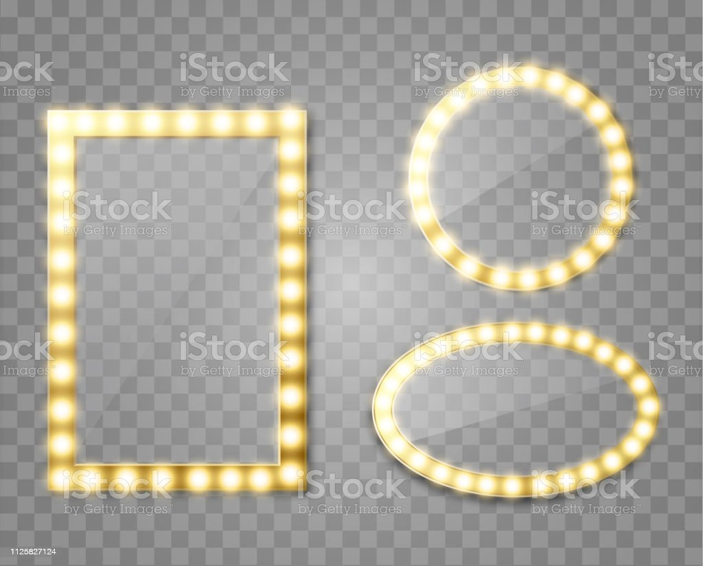 Makeup mirror isolated with gold lights. Vector square and round...