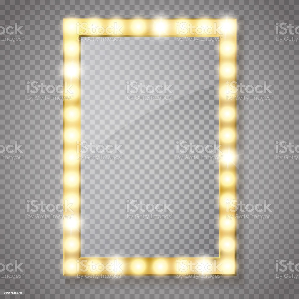 Maquillaje espejo aislado con luces de oro. Vector de - ilustración de arte vectorial