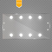 Makeup mirror isolated with lights. Vector illustration