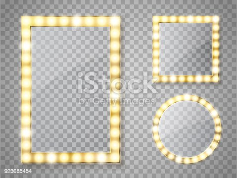 Makeup mirror isolated with gold lights. Vector square and round frames illustration