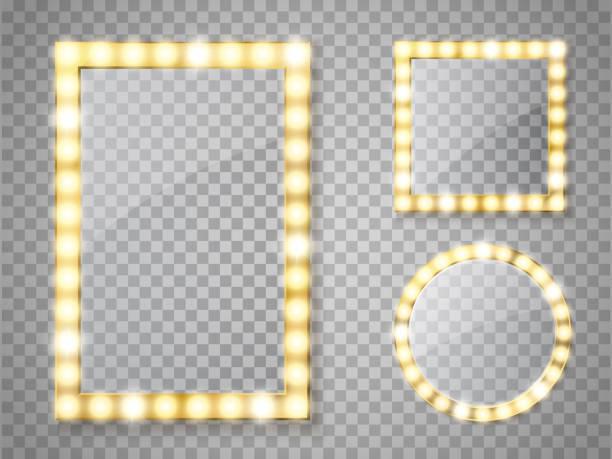 ilustraciones, imágenes clip art, dibujos animados e iconos de stock de maquillaje espejo aislado con luces. vector de cuadrado y redondeos marcos - espejo