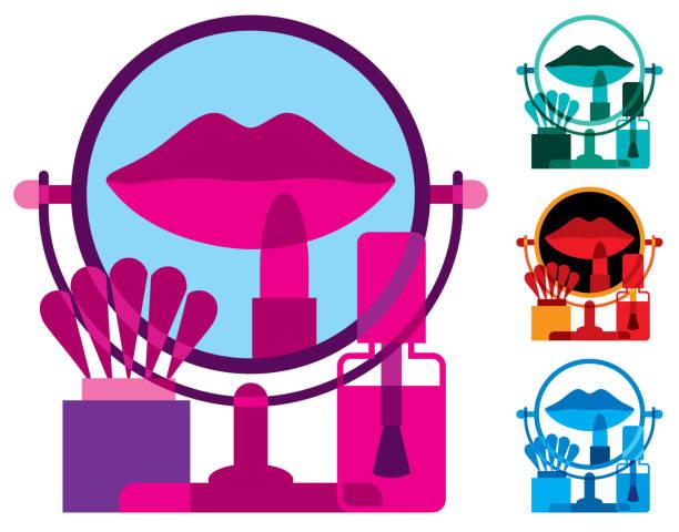 bildbanksillustrationer, clip art samt tecknat material och ikoner med makeup spegel med kosmetikprodukter - makeup artist