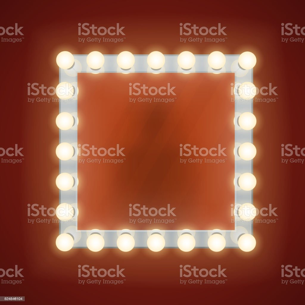 Makeup mirror with electric bulbs. Vector illustration vector art illustration