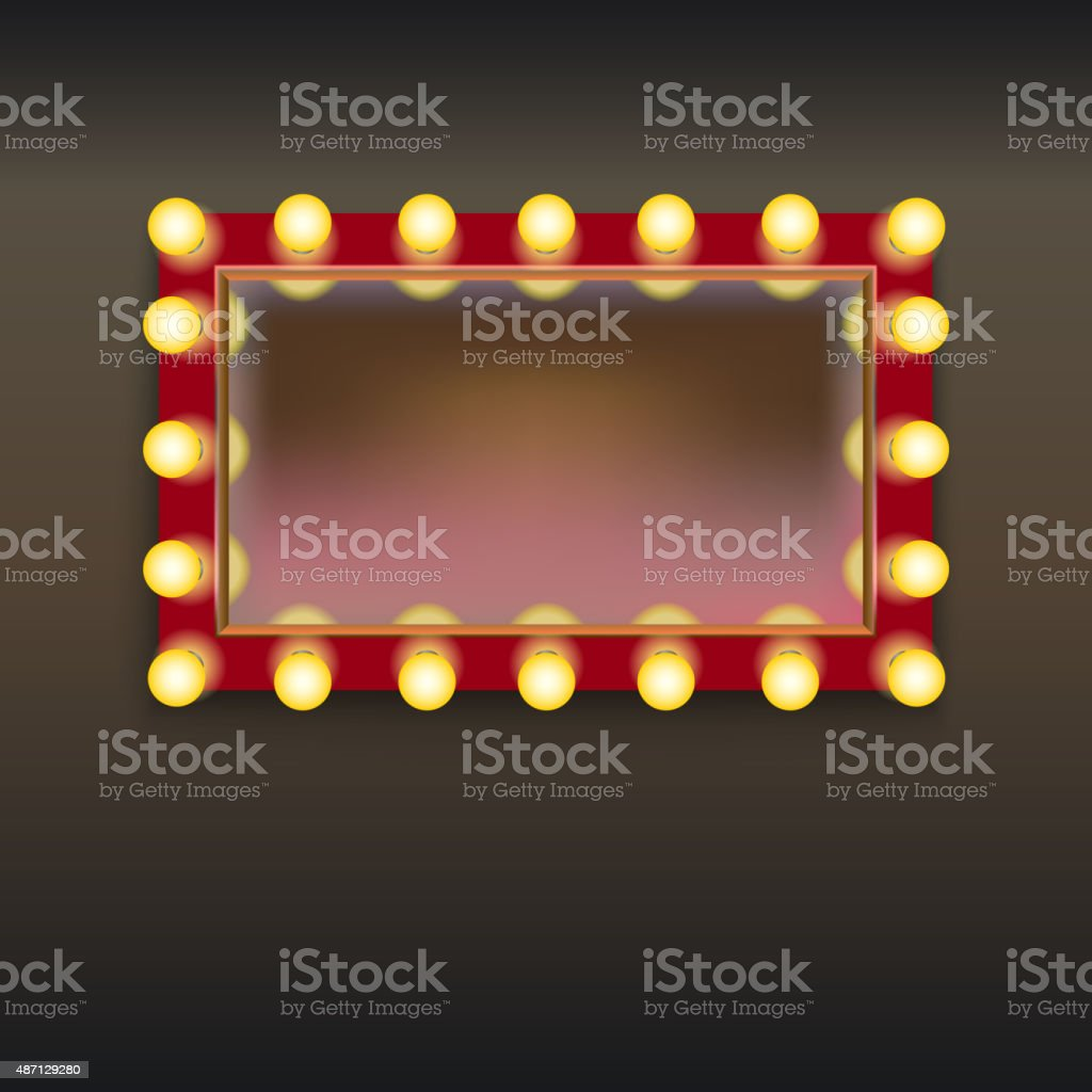 Makeup mirror with lamps vector art illustration