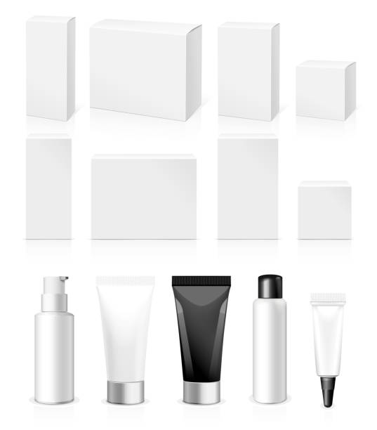 Make-up packaging product Make up. Tube of cream or gel white plastic product.  Container, product and packaging. White background. caucasian ethnicity stock illustrations