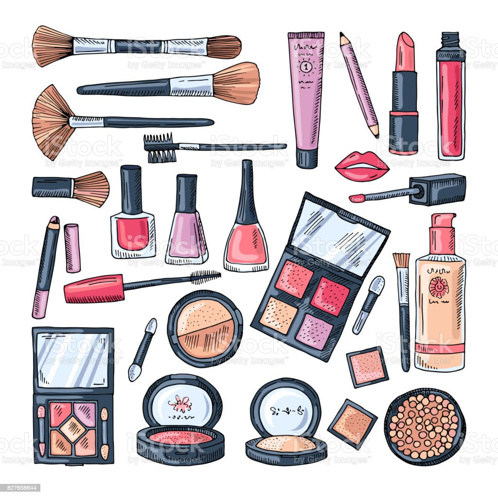 Makeup Products For Women Colored Hand Drawn Illustrations