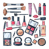 Makeup products for women. Colored hand drawn illustrations of different cosmetic accessories. Female makeup product, vector beauty and care