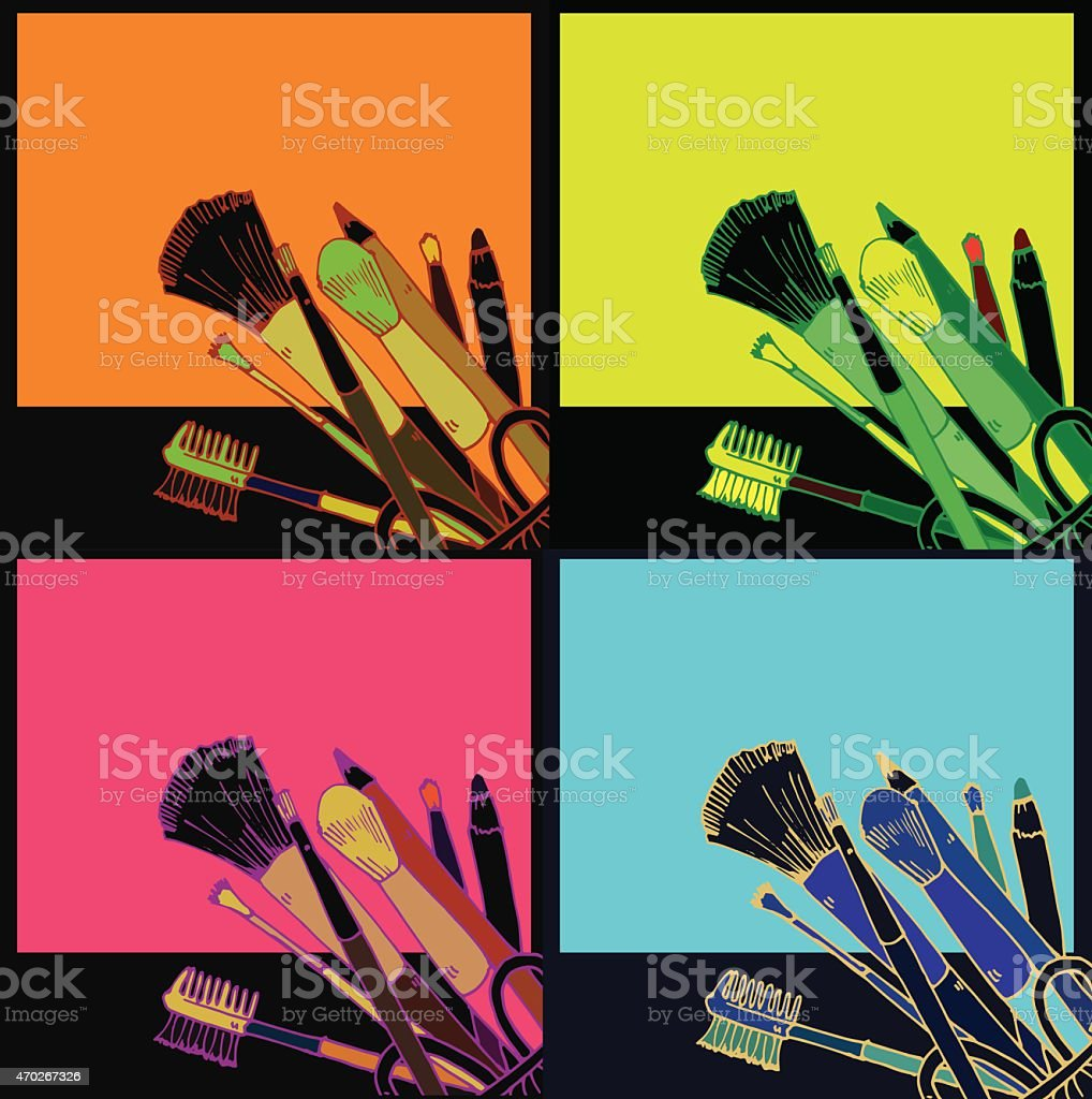 Makeup products  hand drawn vector art illustration