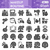 Makeup routine solid icon set, skin care and make up symbols collection or sketches. Self care glyph style signs for web and app. Vector graphics isolated on white background
