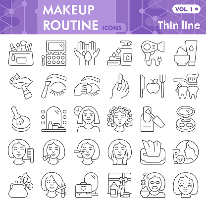 Makeup routine thin line icon set, skin care and make up symbols collection or sketches. Self care linear style signs for web and app. Vector graphics isolated on white background.