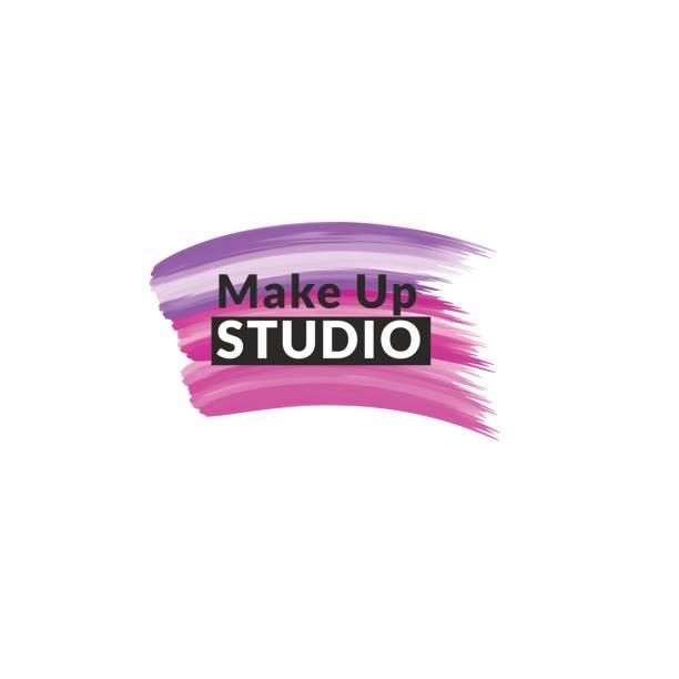 bildbanksillustrationer, clip art samt tecknat material och ikoner med makeup studio emblem formgivningsmall. - makeup artist