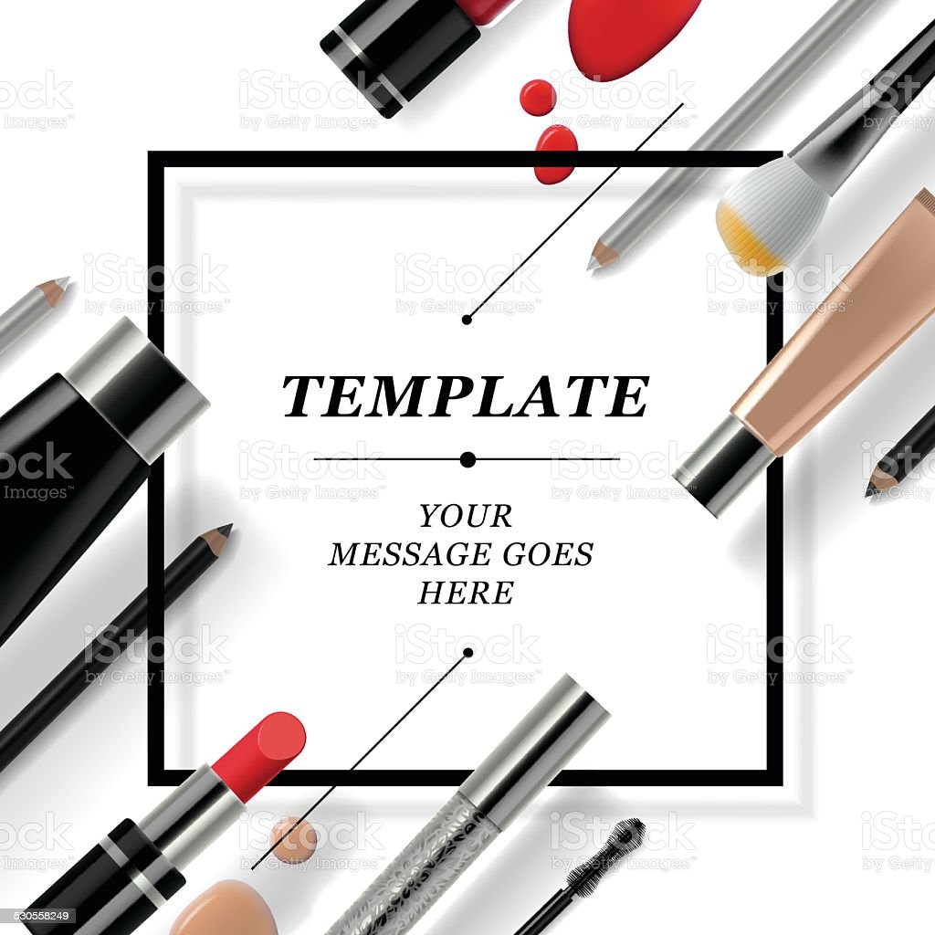 Makeup template with collection of make up cosmetics and accessories vector art illustration