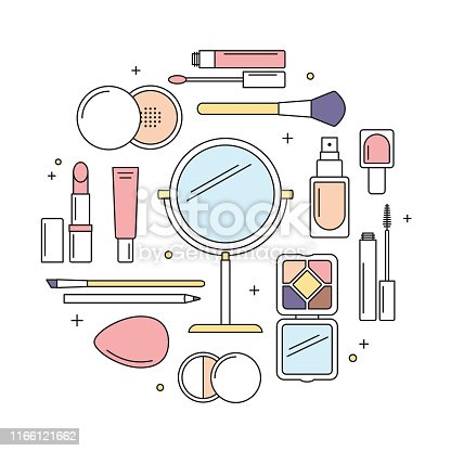 Make-up tools, mirror, lipstick, lip gloss, mascara, eye shadow, powder, etc. Vector line icons, round design template.