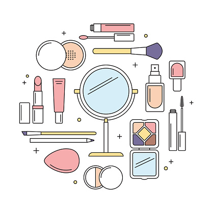 Make-up tools vector line icons round design template.