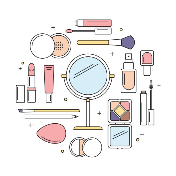 ilustrações de stock, clip art, desenhos animados e ícones de make-up tools vector line icons round design template. - make up