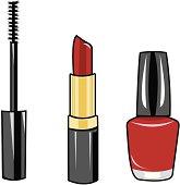 3 illustrations of make-up.