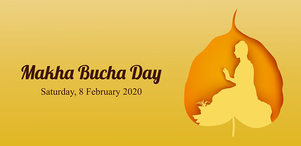 Makha Bucha Day, Buddha delivering his teachings shortly before his death to 1,250 monks, Vector Illustration
