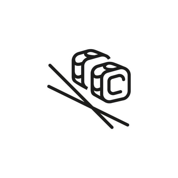 illustrazioni stock, clip art, cartoni animati e icone di tendenza di maki line icon - banchi di pesci