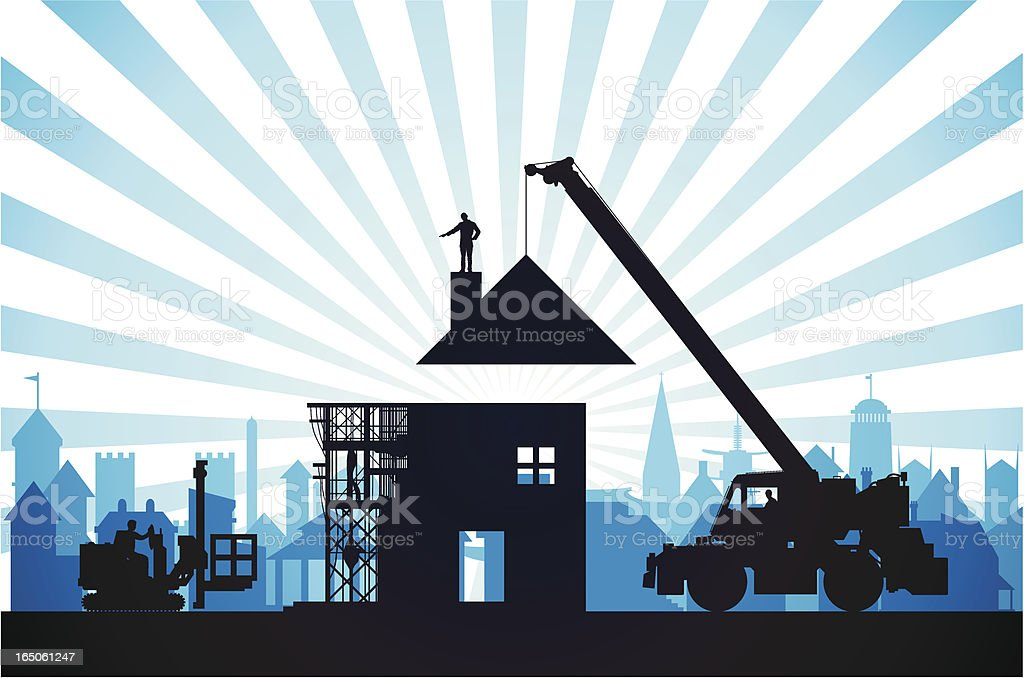 Making a Blue Home royalty-free stock vector art