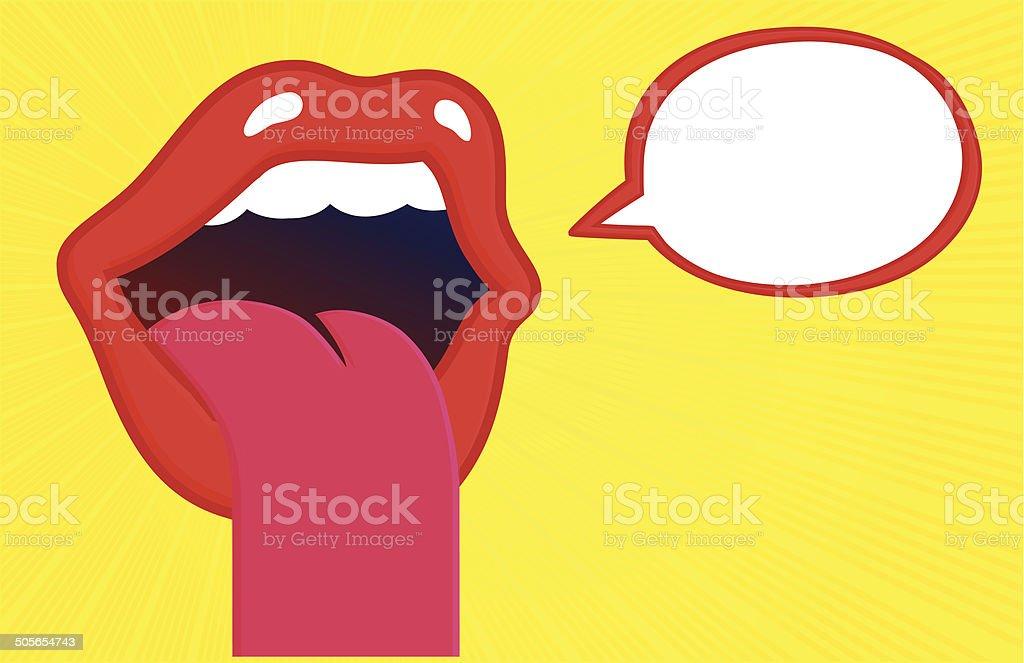 Grimassen Schneiden Lippen Mund Die Zunge Heraus Getroffen Stock ...