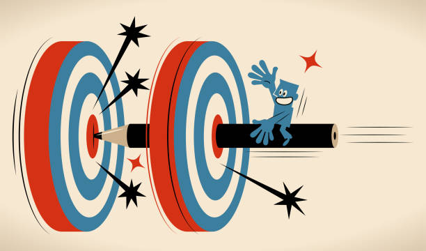 Making a good writing goal, blue man (editor, writer) riding on a big flying pencil hitting the bull's-eye on two dartboards vector art illustration