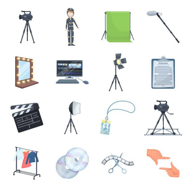 stockillustraties, clipart, cartoons en iconen met het maken van een film cartoon pictogrammen in set collectie voor design. kenmerken en uitrusting vector symbool voorraad web illustratie. - green screen