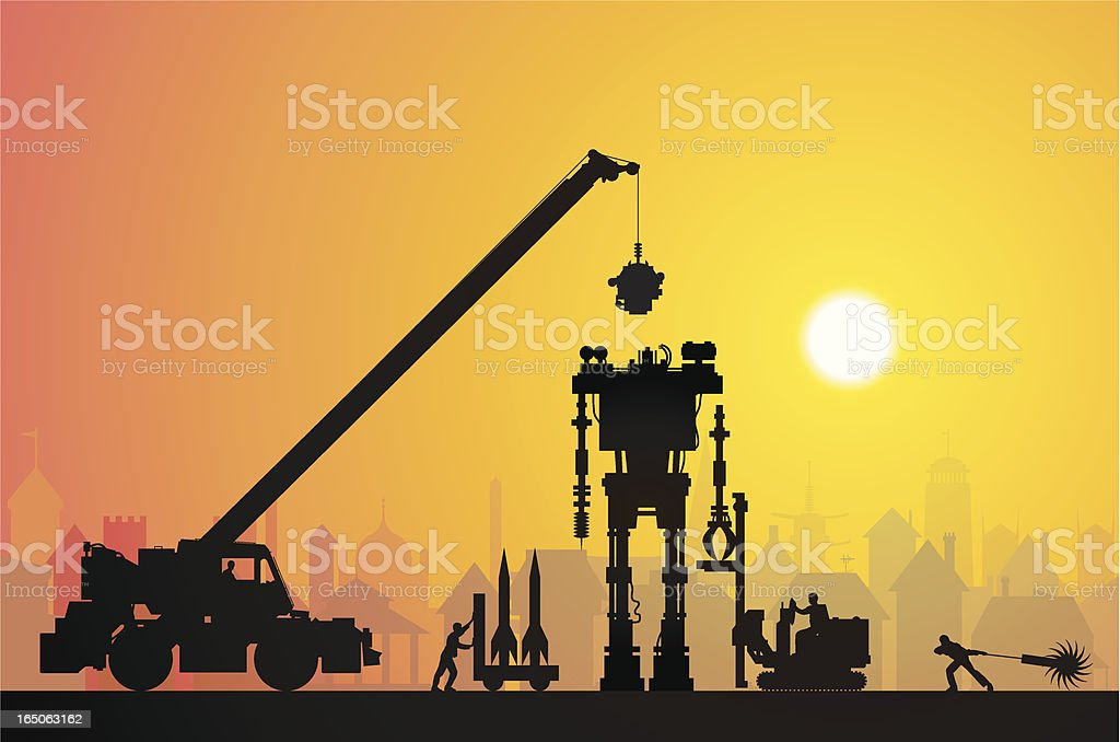 Making a Robot in Town royalty-free stock vector art