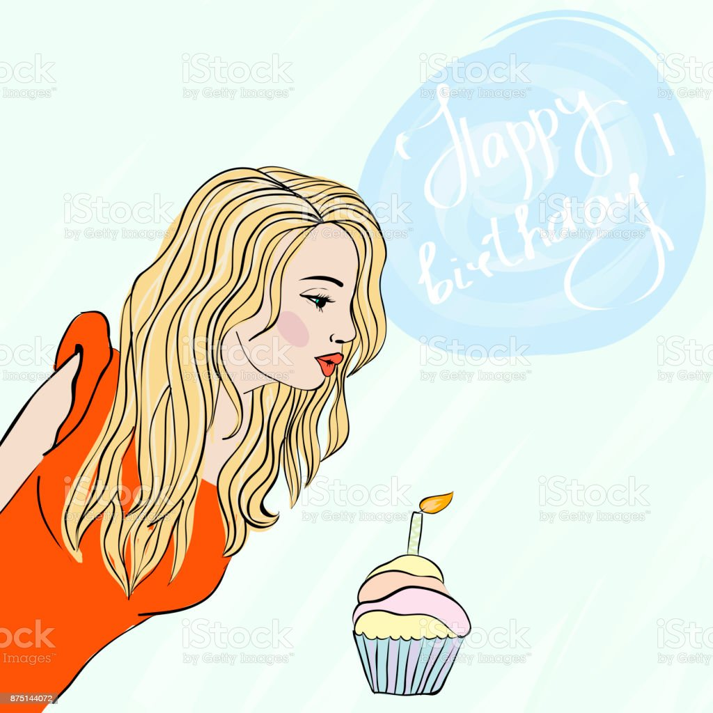 Making a Wish. Young woman blowing a candle on a birthday cake. Happy Birthday card. Vector vector art illustration