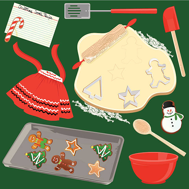 making and baking christmas cookies - mixing bowl stock illustrations, clip art, cartoons, & icons