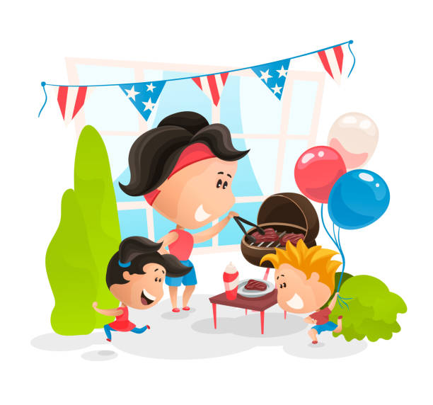 making bbq at independence day of america. vector illustration in flat cartoon style - family 4th of july stock illustrations