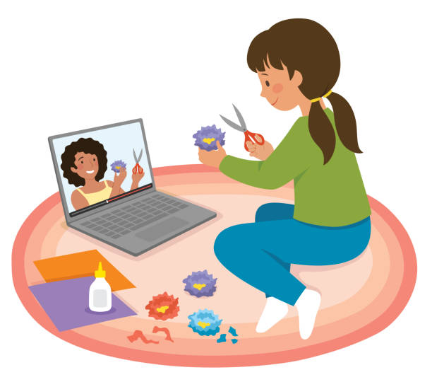 Making crafts with online video tutorial vector art illustration