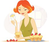 Young lady decorating strawberry cupcakes. AI CS5 version is also available.