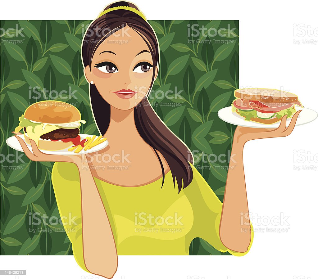Making Healthy Food Choices vector art illustration