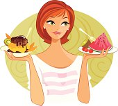 A pretty young woman is trying to make a healthy food choice. Will it be an ice cream sundae with kiwi and mango or a plate of fresh fruit? The background grouped separately and can be removed.