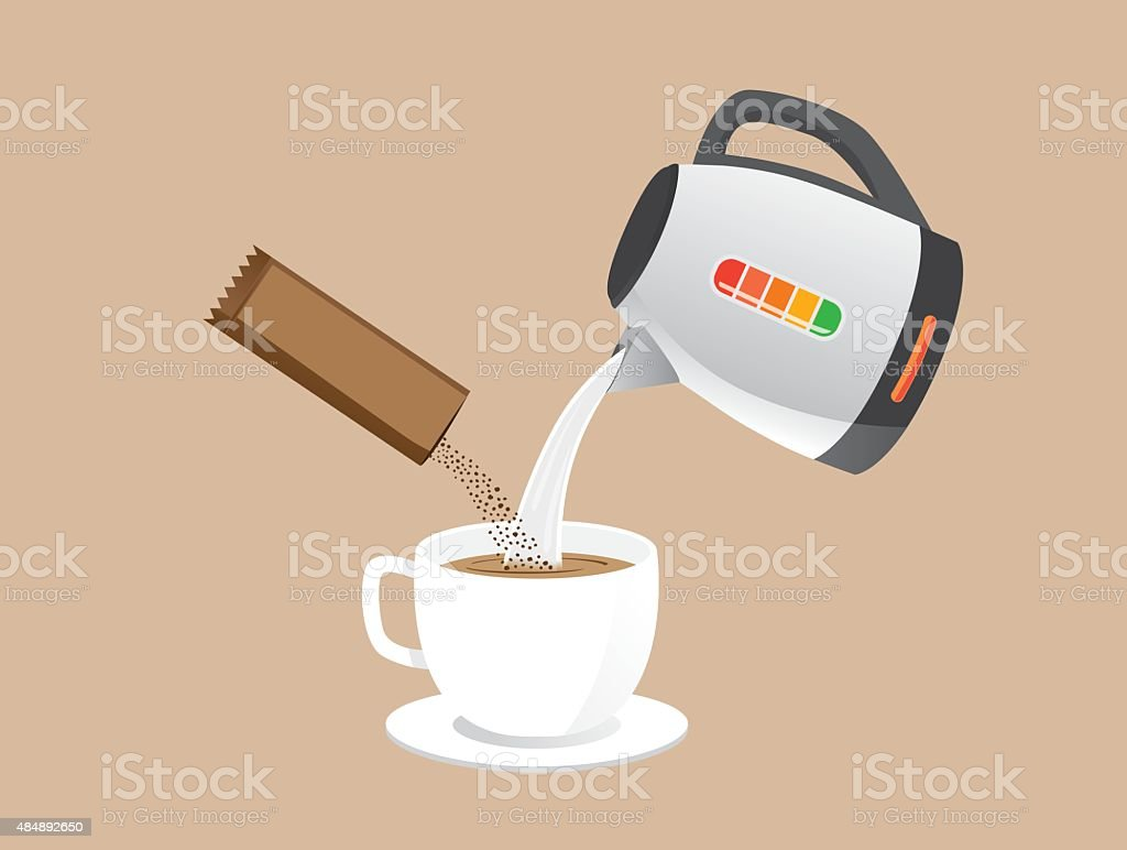 Making instant coffee vector art illustration