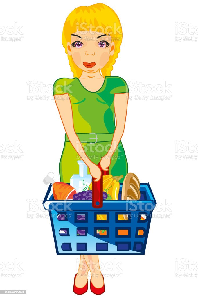 Making look younger girl with product in basket