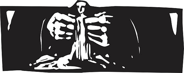 Making Man Woodcut style expressionist image of god forming man from clay. name of person stock illustrations