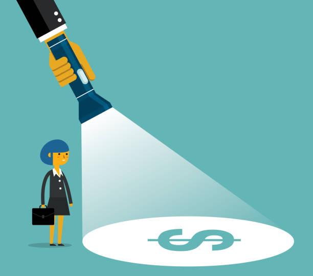 Making money - Businesswoman A hand holding a flashlight uncovering hidden dollar sign. Business vector concept illustration flashlight stock illustrations