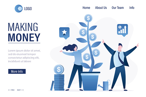 Making money, landing page template. Businesspeople standing near pot with money tree. Investors grows profit plant with coins.