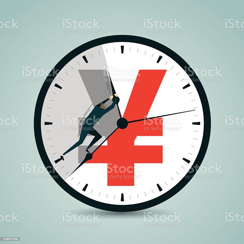 Making Money, Wealth, Time Flies, RMB, renminbi,  Work Overtime vector art illustration