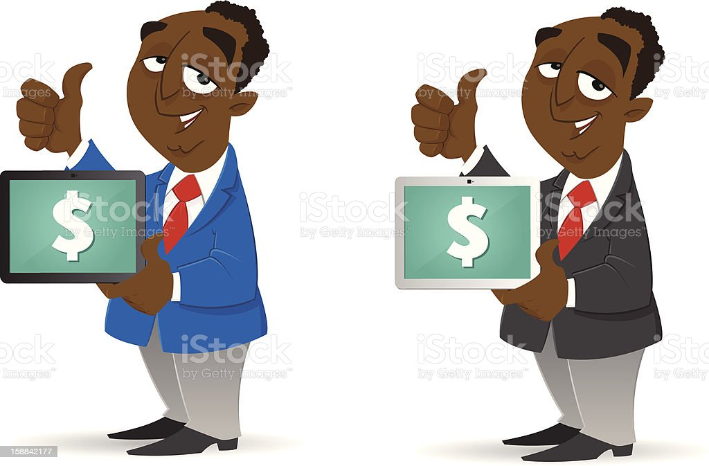 Making Money with his Tablet royalty-free making money with his tablet stock vector art & more images of achievement