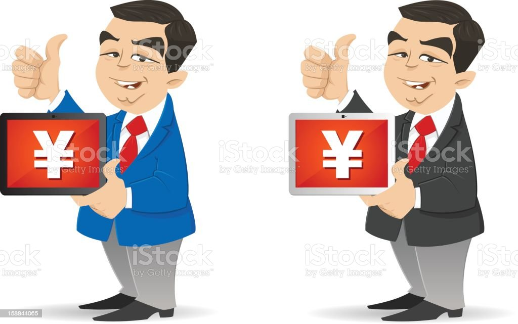 Making Money with his Tablet royalty-free stock vector art