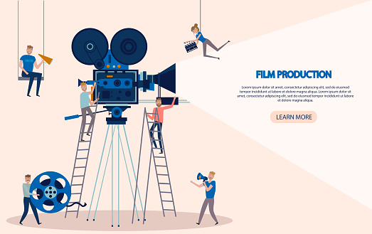 Making movie, video production landing page template with tiny people in the process of shooting a movie. Editable vector illustration