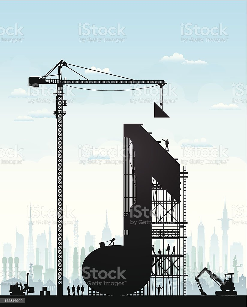Making Music The builders, crane, construction vehicles, city and sky are all highly detailed and on separate layers. Adult stock vector