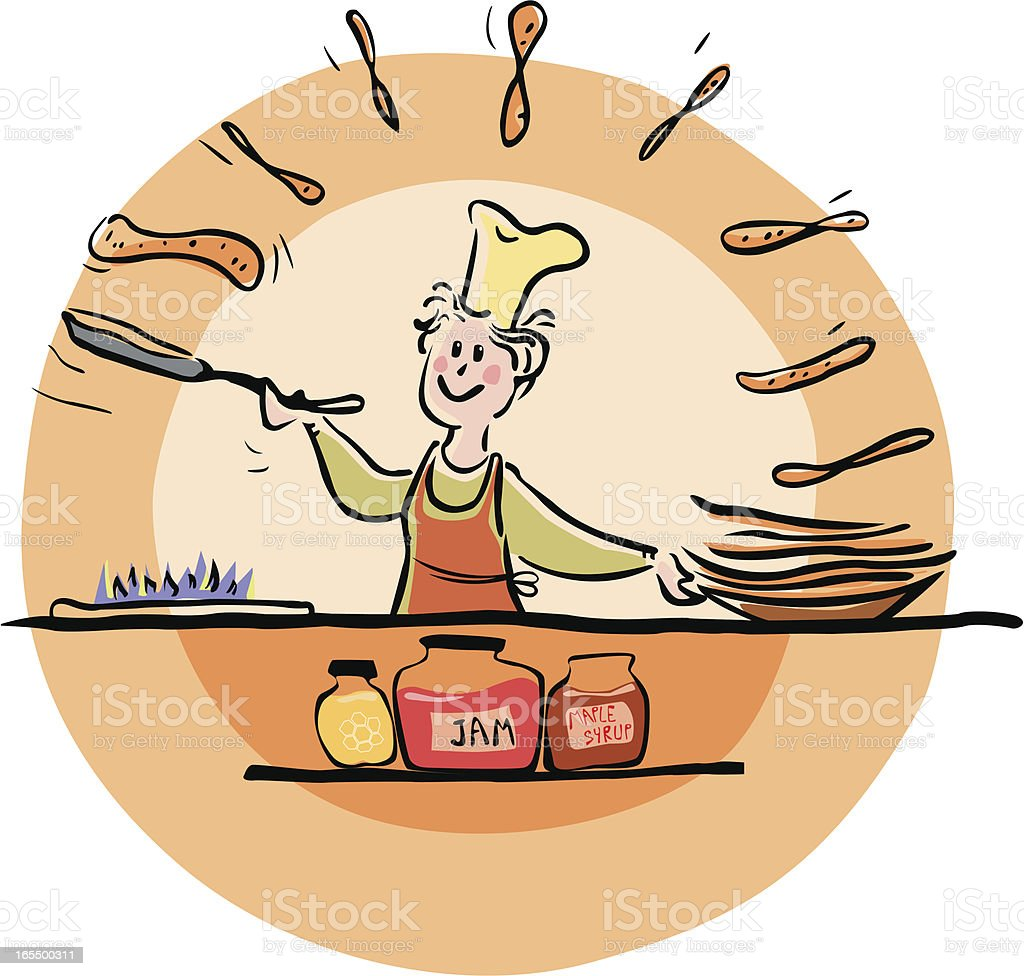 Making pancakes royalty-free stock vector art