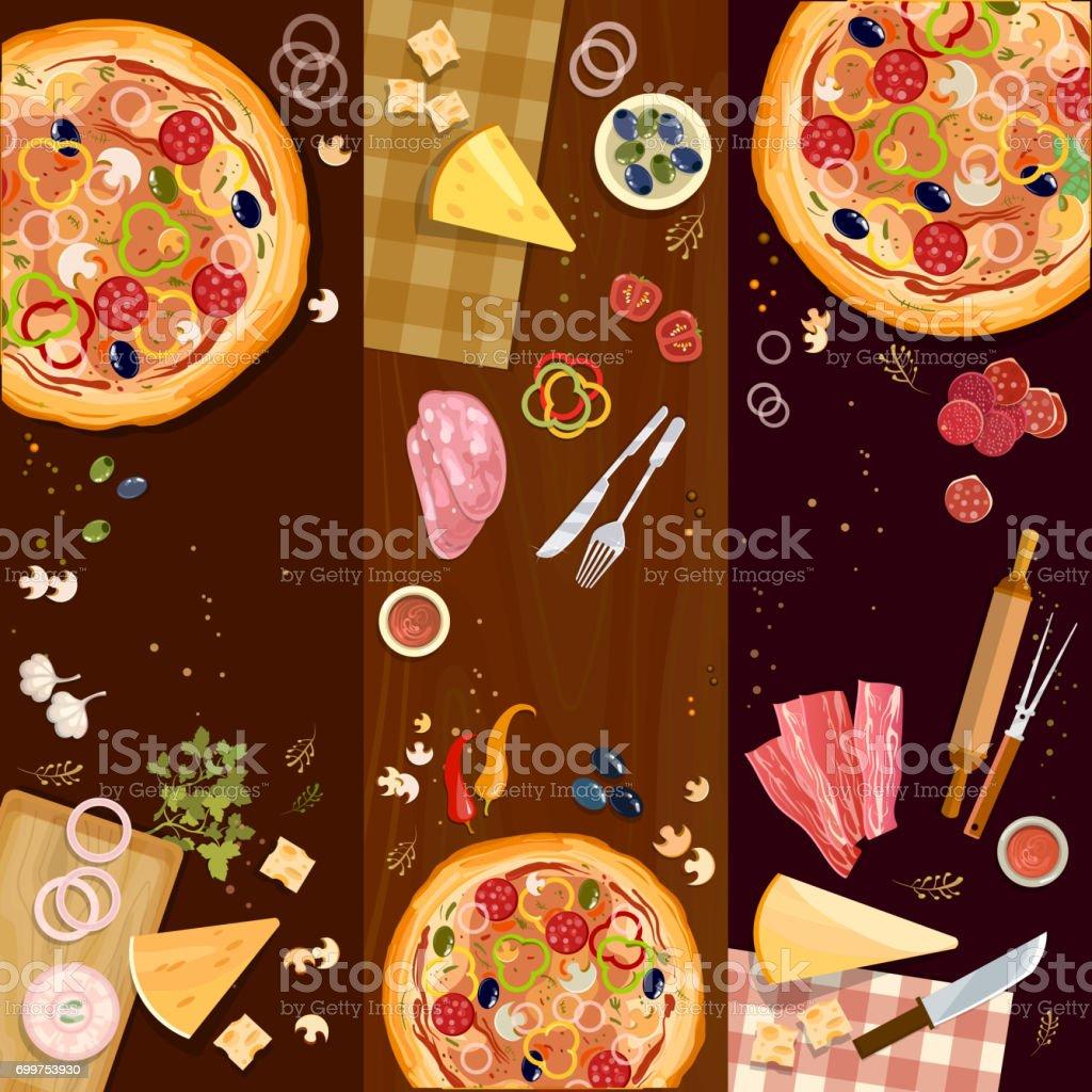 Pizzabacken, Pizza auf hölzernen Tischplatte anzeigen Banner, frische Zutaten für Pizza-Vektor-set – Vektorgrafik
