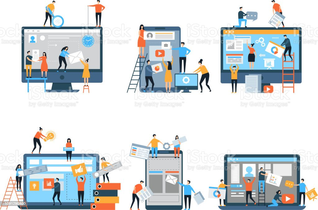 Making site. Web pages under construction seo optimization marketing simple people group business team vector stylized characters Making site. Web pages under construction seo optimization marketing simple people group business team vector stylized characters. Web programmer making optimization page seo illustration Adult stock vector