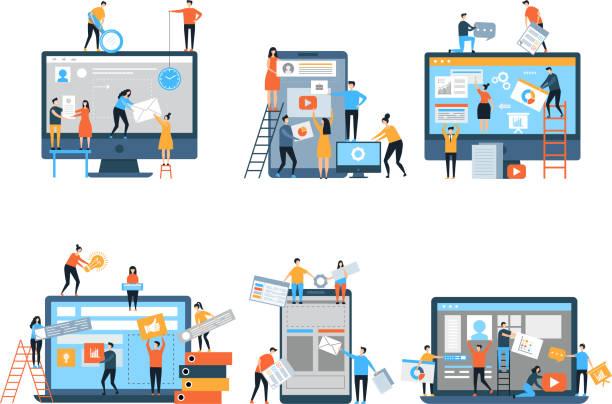 gestaltung der website. web-seiten unter bau seo optimierung einfach marketingleute gruppe business team vektor stilisierte zeichen - internetseite stock-grafiken, -clipart, -cartoons und -symbole