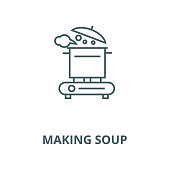 Making soup vector line icon, outline concept, linear sign