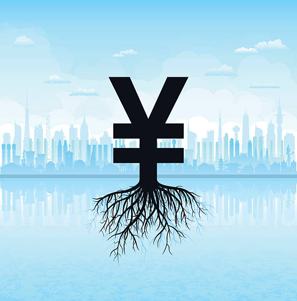 Making Yen or Yuan Yen or Yuan symbol with roots. taiwanese currency stock illustrations